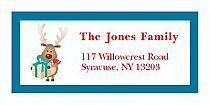 "Little Present Reindeer Christmas Address Labels 2"" x .875"""