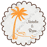 Tropic getaway Scalloped Circle Wedding Labels