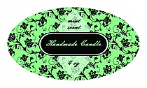 Floral Candle Label Small Oval