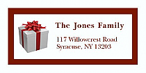 "Red Strip Present Christmas Address Labels 2"" x .875"""