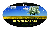 Fresh Meadow Candle Label Small Oval