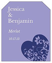 Hearts of Love Wine Wedding Label