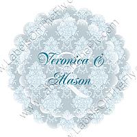 Monogram Scalloped Circle Wedding Labels
