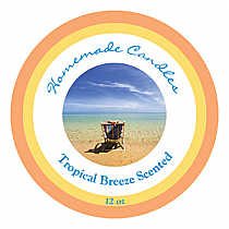 Tropical Breeze Big Candle Round Labels