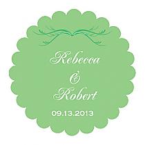Honeymoon Waves Scalloped Circle Wedding Labels