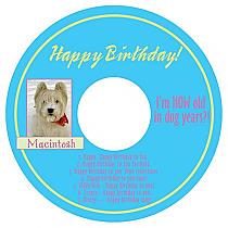 CD Dog Birthday Labels