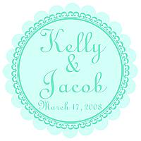 Monarch Scalloped Circle Wedding Labels