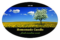 Fresh Meadow Candle Label Oval