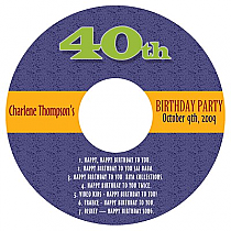 CD Party Time Birthday Labels