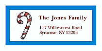 "Striped Candycan Christmas Address Labels 2"" x .875"""