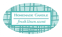 Fresh Linen Candle Label Small Oval