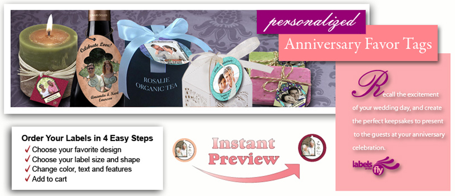 Custom anniversary tags personalized favor tags