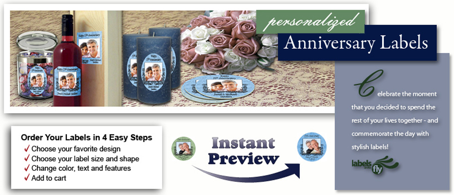 custom Anniversary Labels, personalized labels and stickers