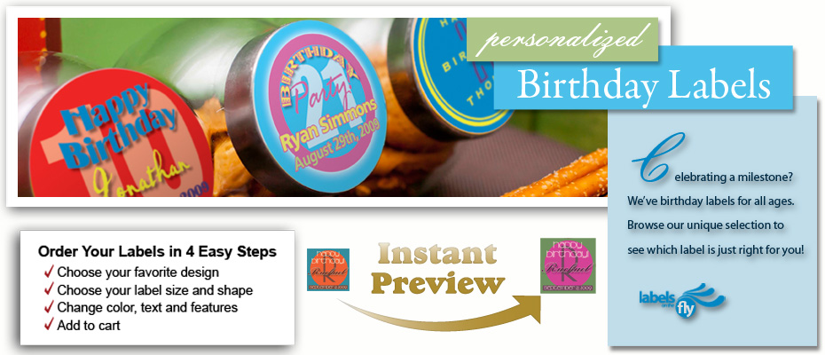 Personalized Birthday Party Supplies Custom Birthday Labels