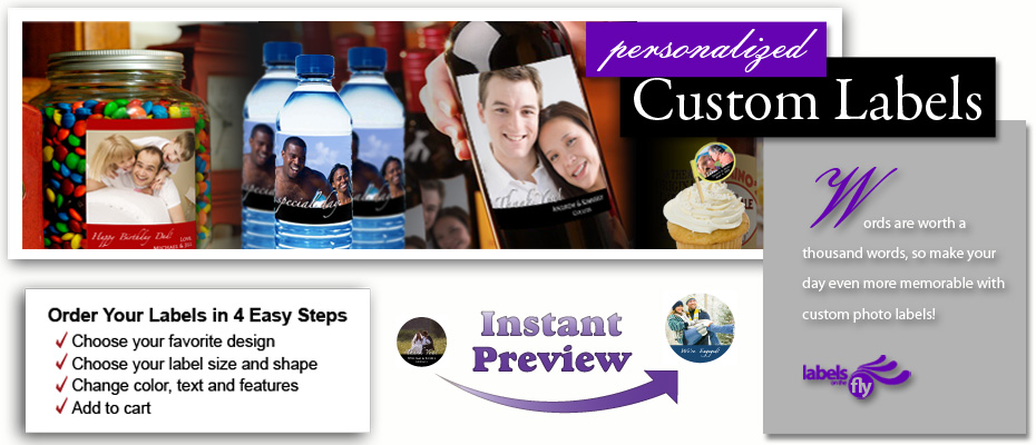 Party photo labels custom photo labels and personalized photo stickers