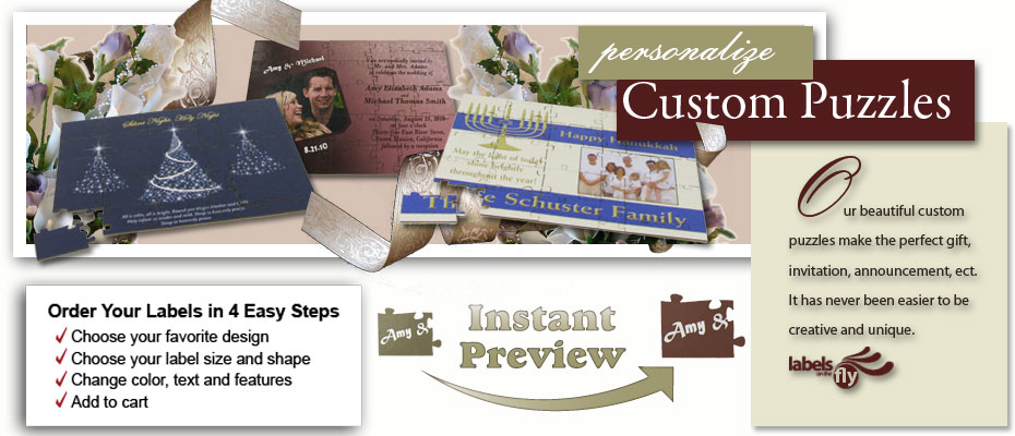 Customizable puzzle gifts and puzzle wedding favors