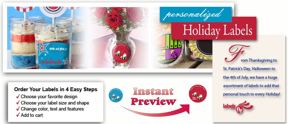 Custom Design Holiday Labels, Customizable Holiday stickers