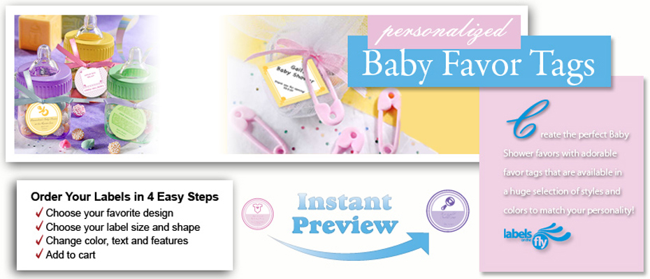 Custom baby favor tags, personalized kids gifts tags, baby stickers and hang tags