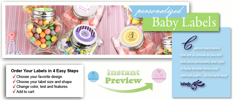 Custom Design baby labels and baby shower stickers