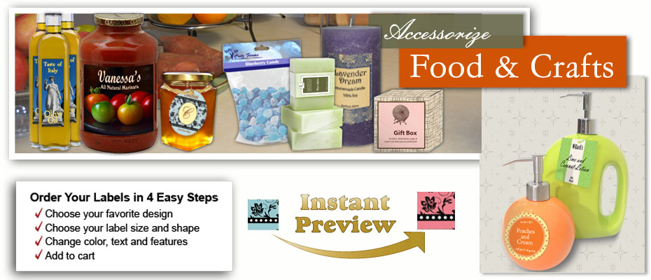 Custom Design food labels and craft stickers adhere to glass, metal, plastic, wood, paper wax, cellophane