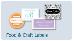 food and craft labels, custom-designed printed labels, envelope seals, favor tags and coasters to create beautiful personalized food or craft gifts, bath creations, wedding and party favors