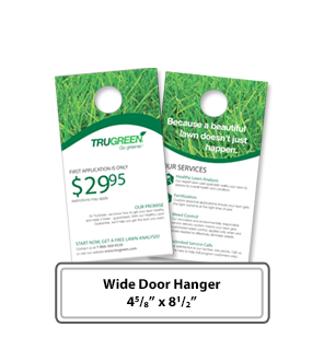 Custom printing of Wide Door hangers 4 5/8 x 8 1.2 in