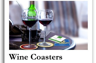 Personalized wine coasters and custom drink coasters for weddings